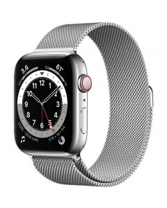 Apple Watch Series 6 40mm GPS + Cellular M06U3 Silver Stainless Steel Case with Milanese Loop