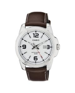 Casio Men's Classic White Dial Leather Band Watch MTP-1314L-7AV